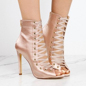 Women's Fashion Light Pink Lace Up Boots Satin Peep Toe Ankle Boots