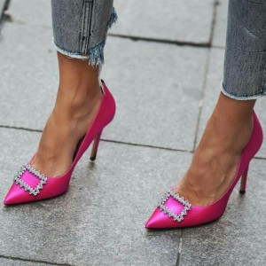 Women's Fuchsia Satin Pointed Toe Stiletto Heels Pumps