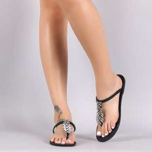 Black Summer Sandals Rhinestone Beach Flat Flip Flops US Size 3-15