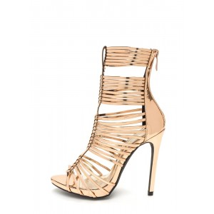 Women's Rose Gold Metallic Gladiator Heel Stiletto Heel Sandals