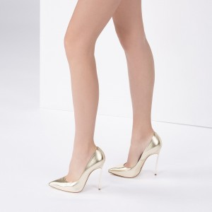 Women's Gold Sparky Metallic Heels Pointy Toe Stiletto Heels Pumps
