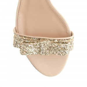 Women's Golden Ankle Strap Sandals Glitter Wedge Heel with Bow
