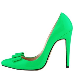 Women's Green Bow Stiletto Heels Patent Leather Pumps Shoes