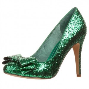 Green Glitter Shoes Chunky Heel Pumps Bow Heels US Size 3-15
