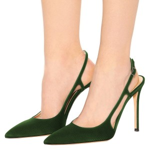 Women's Green Slingback Heels Stripes Buckle Pumps