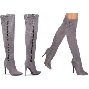 Grey Long Boots Suede Side Thigh High Lace Up Boots