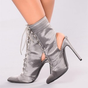 Women's Grey Satin Lace up Boots Ankle Stiletto Boots Slingback Shoes