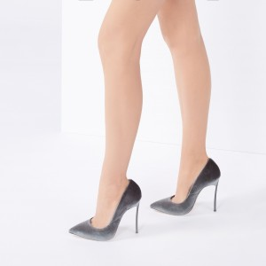 Women's Grey Velvet Heels Pointy Toe Stiletto Heels Pumps