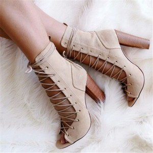 Women's Khaki Lace Up Boots Peep Toe Hollow out Strappy Chunky Heel Boots