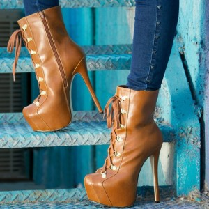 Women's Lace up Boots Stiletto Heels Brown Platform Boots Ankle Boots