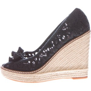 Black Lace Espadrille Wedges Peep Toe Platform Pumps