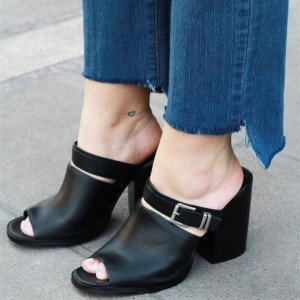 Black Mule Heels Casual Peep Toe Block Heels for Office Lady