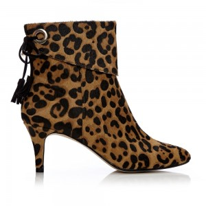 Leopard Booties Closed Toe Back Lace up Cheetah Calf Hair Kitten Heels