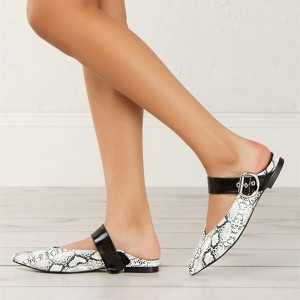 Women's Snakeskin Pointy Toe Flats Mule Sandals