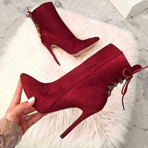 Red Pointy Toe Lace up Back Ankle Booties