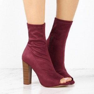 Dark Red Sock Boots Suede Peep Toe Chunky Heel Ankle Boots