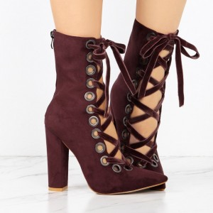 Women's Maroon Chunky Heels Boots Fashion Lace Up Suede Ankle Boots