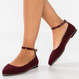 Women's Maroon Flats Suede Shoes US Size 3-15