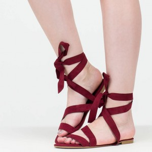 Women's Maroon Open Toe Strappy Sandals Comfortable Flats