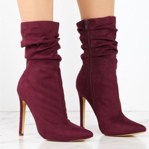 Women's Maroon Stiletto Boots Fashion Suede Pointy Toe Ankle Boots