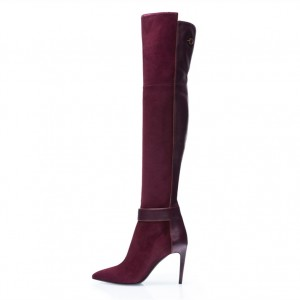 Burgundy Boots Pointy Toe Stiletto Heel Over-the-Knee Boots