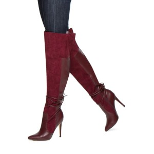 Women's Maroon Stiletto Boots Suede Pointed Toe Knee High Boots