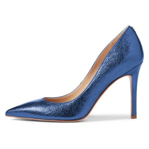 Women's Navy Pointy Toe Stiletto Heels Pumps