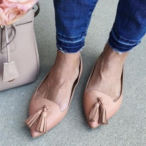 Women's Nude Comfortable Flats Pointy Toe Tassel Fringe Shoes
