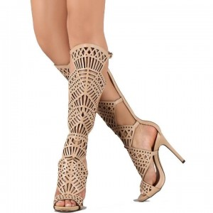 Women's Nude Knee-high Peep Toe Stiletto Heels Gladiator Sandals