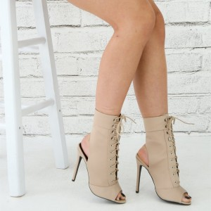 Women's Nude Lace up Boots Peep Toe Stiletto Heel Ankle Booties