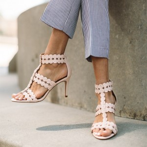 Women's Nude Open Toe T Strap Sandals
