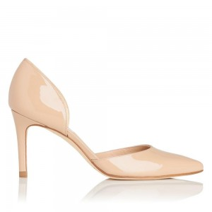 On Sale Nude Patent Leather Nude D'orsay Pumps Stiletto Heels