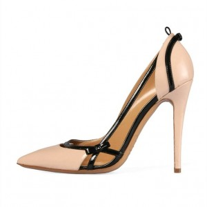 Women's Nude Patent Leather Pointy Toe Stiletto Heels Pumps