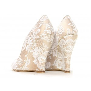 Nude Lace Wedding Wedges Peep Toe Bridal Heels Pumps