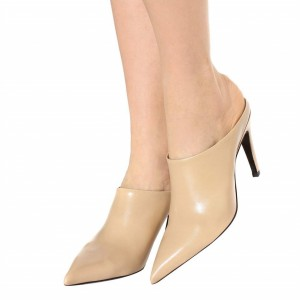 Women's Nude Pointy Toe Stiletto Heels Mule