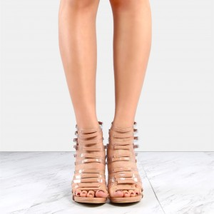Women's Nude Stripes Hollow Out Open Toe Stiletto Heels Sandals