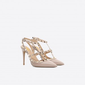 Women's Nude with Rivets Slingback Pumps T-Strap Stiletto Heels Shoes