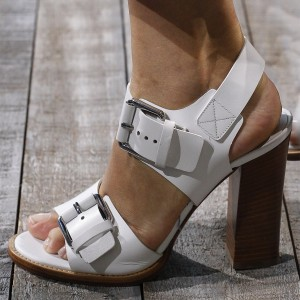 Women's Open Toe Buckle Chunky Heels Slingback Sandals