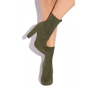 Women's Olive Green Fashion Boots Comfortable Suede Chunky Heels shoes