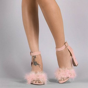 Women's Open Toe Chunky Heels Pink Fluffy Feather Ankle Strap Sandals