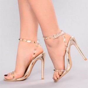 Women's Open Toe Clear Heels Rivets Slingback Ankle Strap Sandals