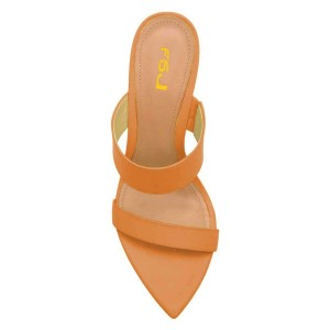 Women's Open Toe Wedge Heels Sandals for Hanging out in Orange