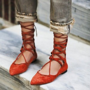 Women's Orange Red Dress Shoes Retro Pointed Toe Ballet Strappy Flats