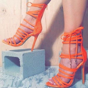 Women's Orange Strappy Sandals Zipper Stiletto Heels