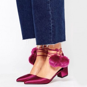 Magenta Pom Pom Shoes Ankle Wrap Block Heel Closed Toe Sandals