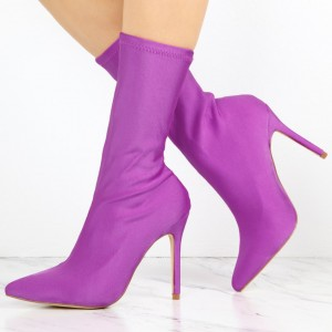 Purple Lycra Sock Boots Pointy Toe Stiletto Heel Mid Calf Boots