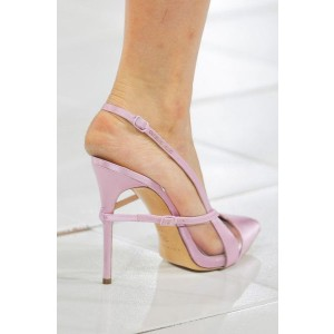 Lighet Purple Pointy Toe PVC and Satin Fashion Slingback Heels Sandals