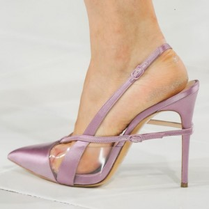 Light Purple Pointy Toe PVC and Satin Fashion Slingback Heels Sandals