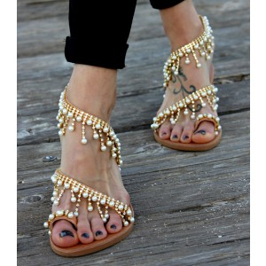 Women's Pearl Rhinestone Strappy Comfortable Shoes Summer Sandals