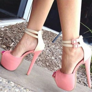 Women's Pink Buckle Peep Toe Pumps Ankle Strap Sandals